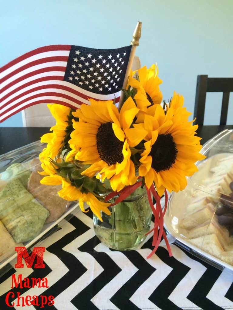sunflower centerpiece on party table