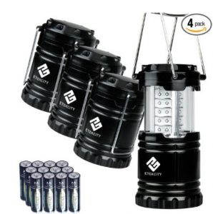 Etekcity 4 Pack Portable Outdoor LED Camping Lantern with 12 AA Batteries