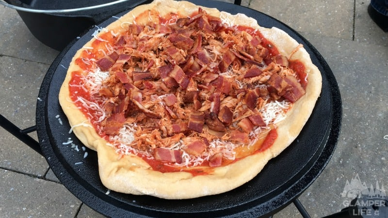 BBQ Bacon Chicken Dutch Oven Pizza Recipe