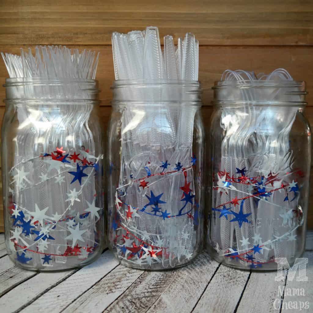 4th of July Patriotic Mason Jars