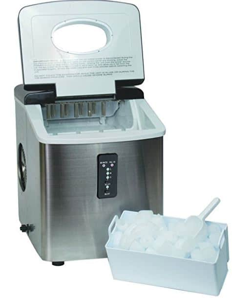 Igloo ICE103 Counter Top Ice Maker with Over-Sized Ice Bucket, Stainless Steel
