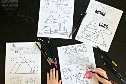 free camping hiking coloring pages colored pencils