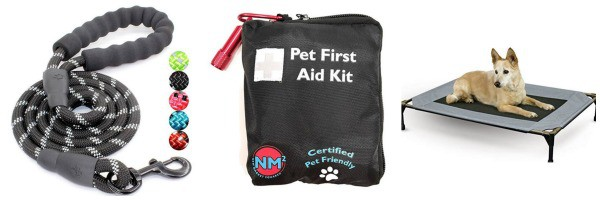 dog camping gear pet first aid kit pet cot leash