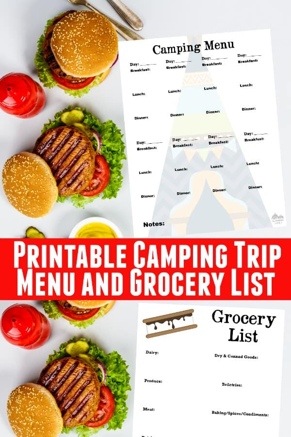 Camping Menu and Grocery List PIN