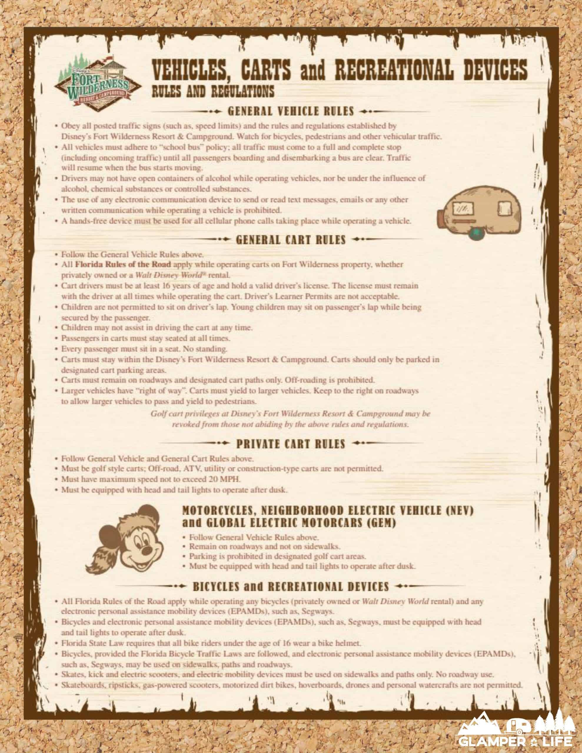 Disney Fort WIlderness Campground Rules Corkboard