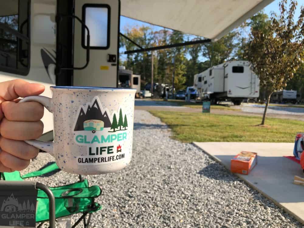 Glamping at KOA with campfire mug