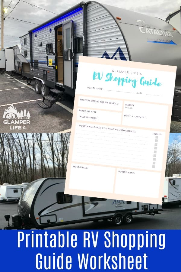 Printable RV Shopping Guide Worksheet PIN