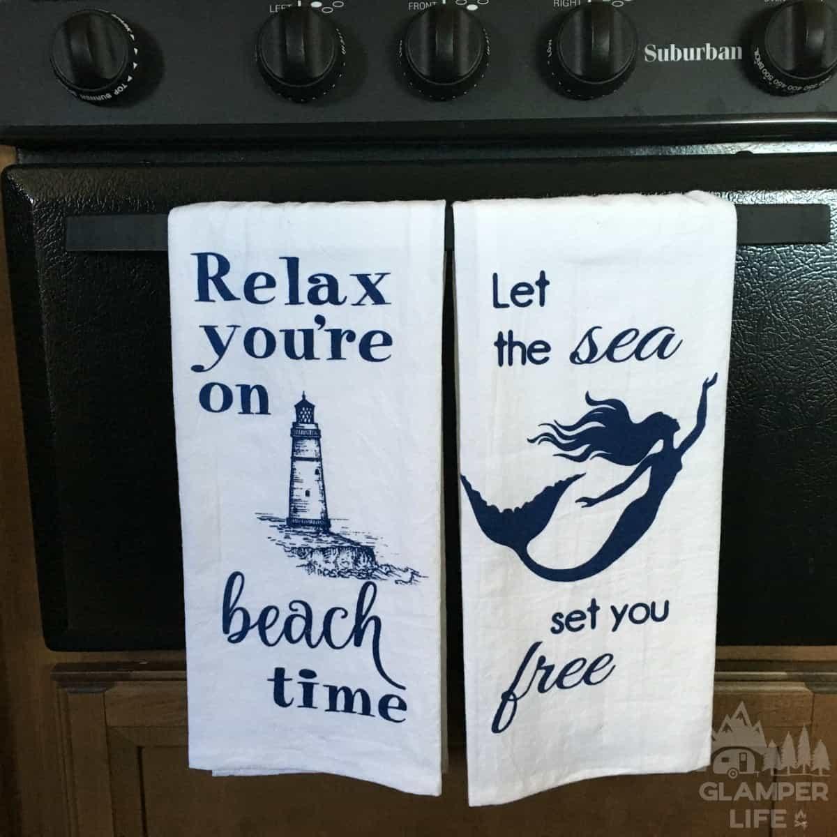 beach dish towels in rv