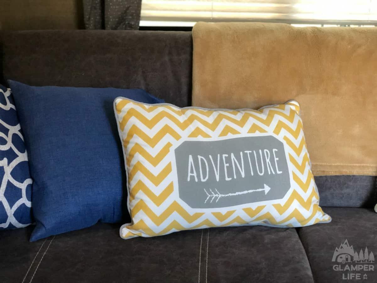 yellow chevron adventure pillow