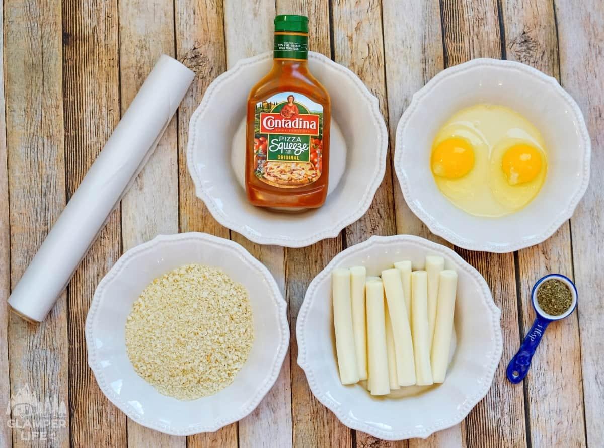 Air Fryer Mozzarella Sticks Ingredients