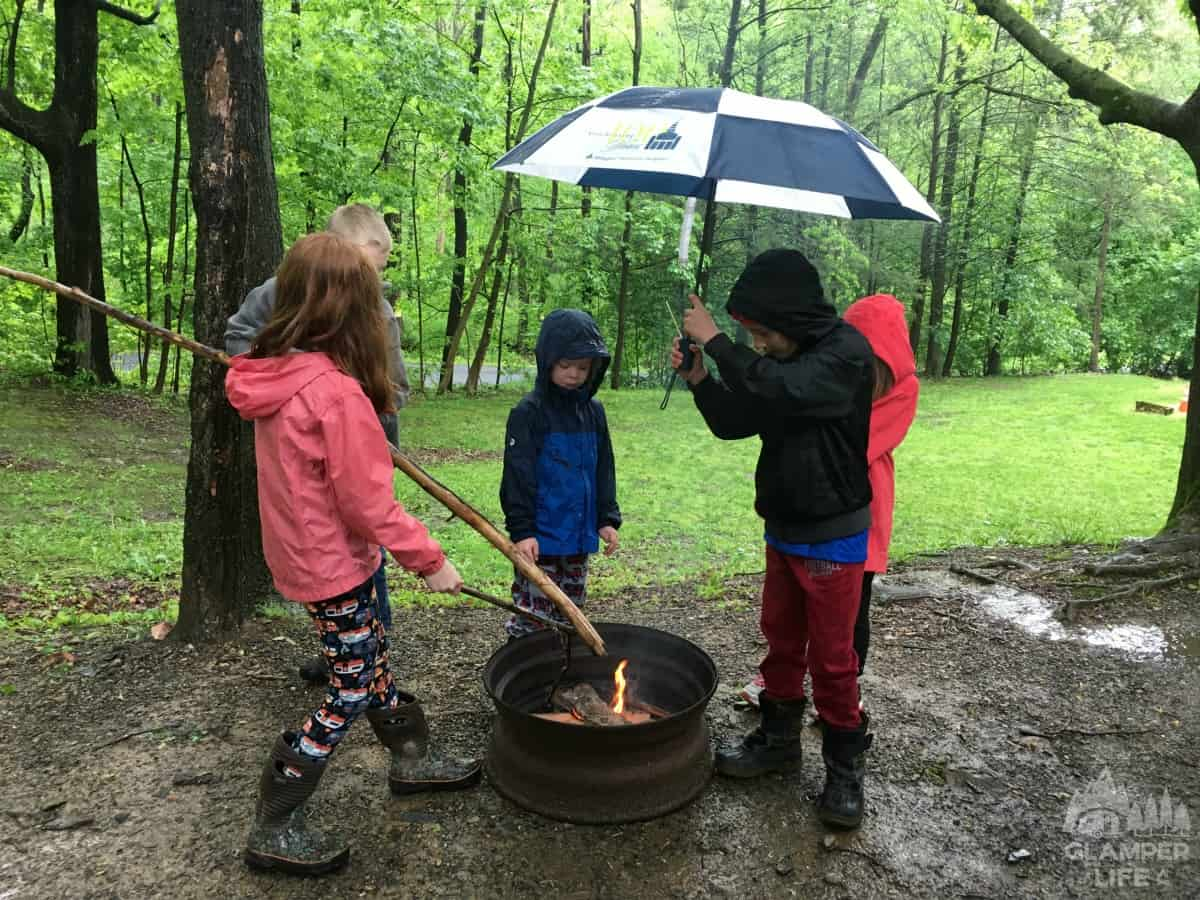 Rainy Camping Fire Pit