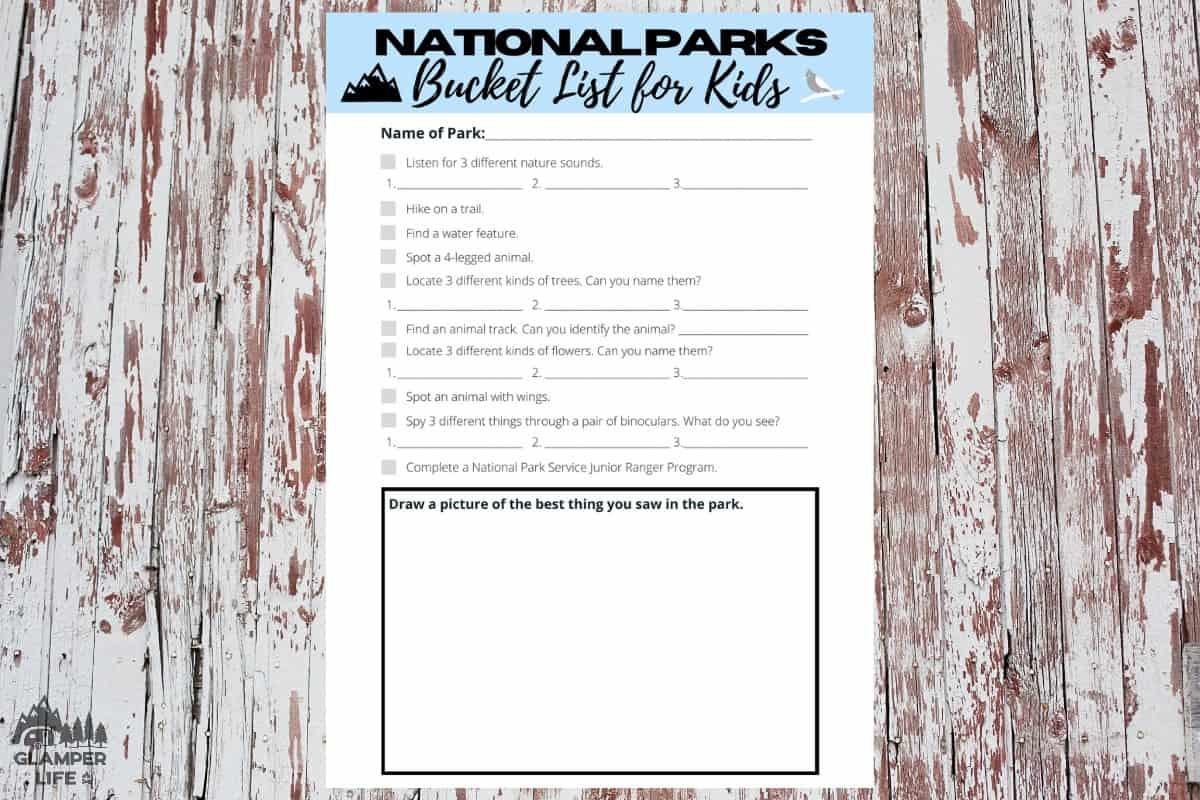 National Parks Bucket List for Kids WM