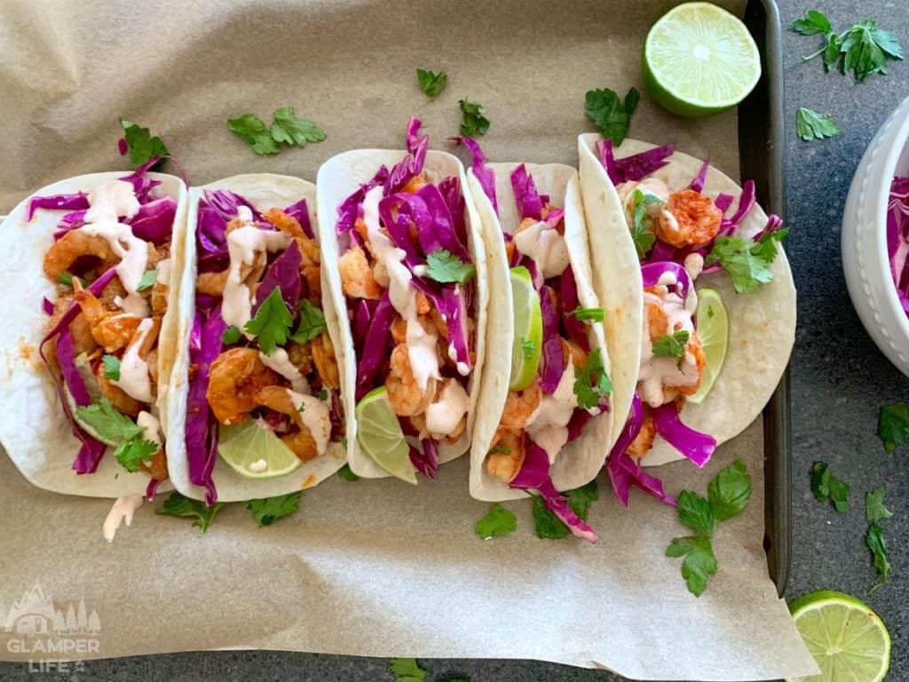 foil pack grilled shrimp tacos tray