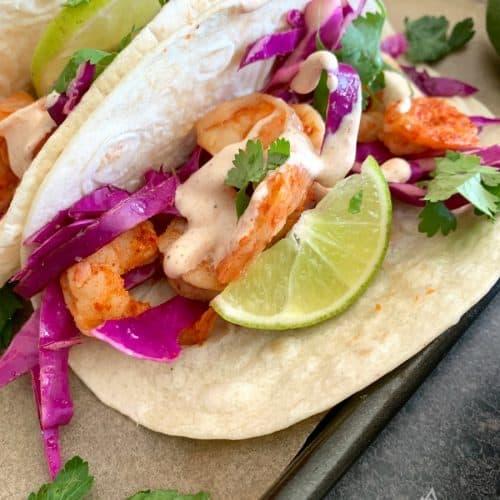 grilled shrimp tacos dinner