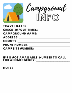 Campground Info Printable