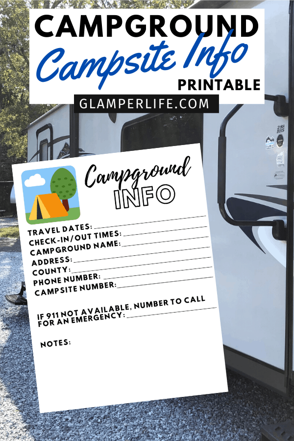 Campground Info Sheet PIN