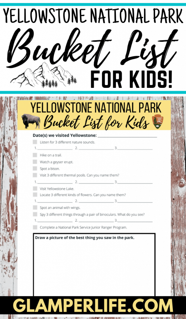 Yellowstone Bucket List Kids PIN