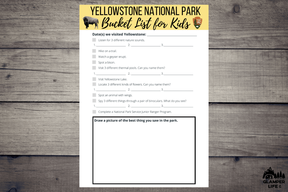 Yellowstone Bucket List for Kids HERO