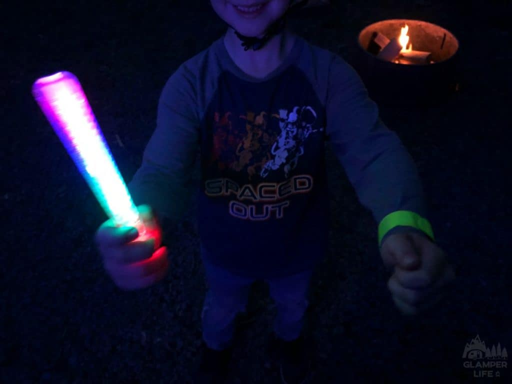 glow sticks and reflectors at campground