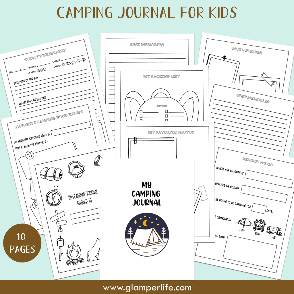 Free Printable Camping Journal For Kids 10 Pages Glamper Life