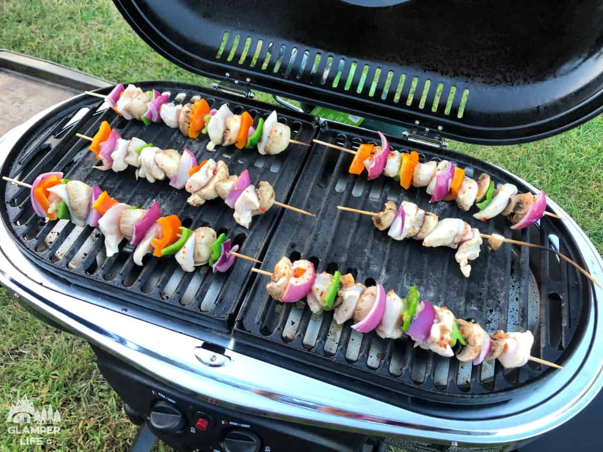 chicken kabobs on coleman camp grill