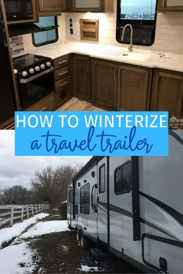 interior of travel trailer and rv in snow
