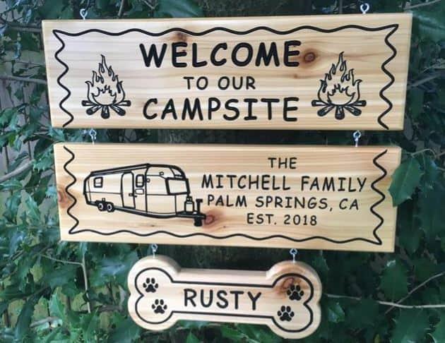 Customized Cedar Camping Sign