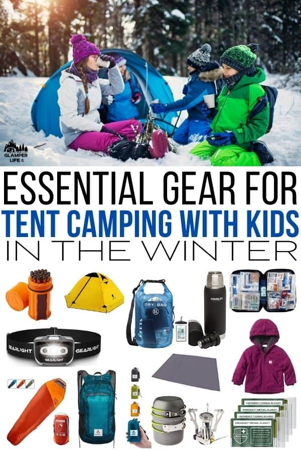 Essential Gear for Tent Camping with Kids in the Winter PIN