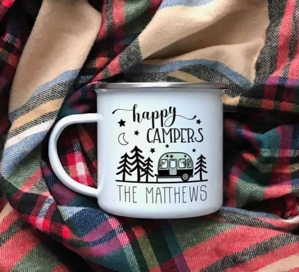 Happy Campers Campfire Mug, personalized Glamping Mug