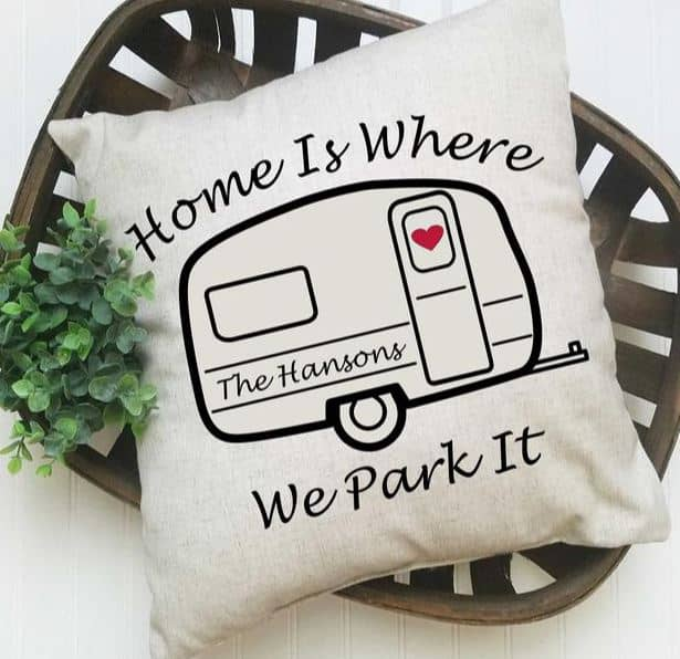 Home is Where We Park It Personalize Pillow