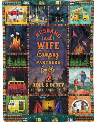 Personalized Husband and Wife Camping Partners for Life Christmas Birthday Fleece Sherpa Blanket