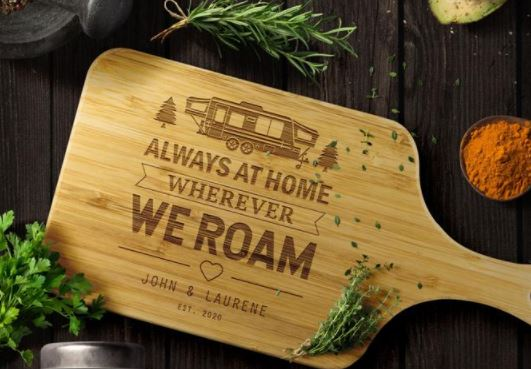 personalized RV wooden cutting board