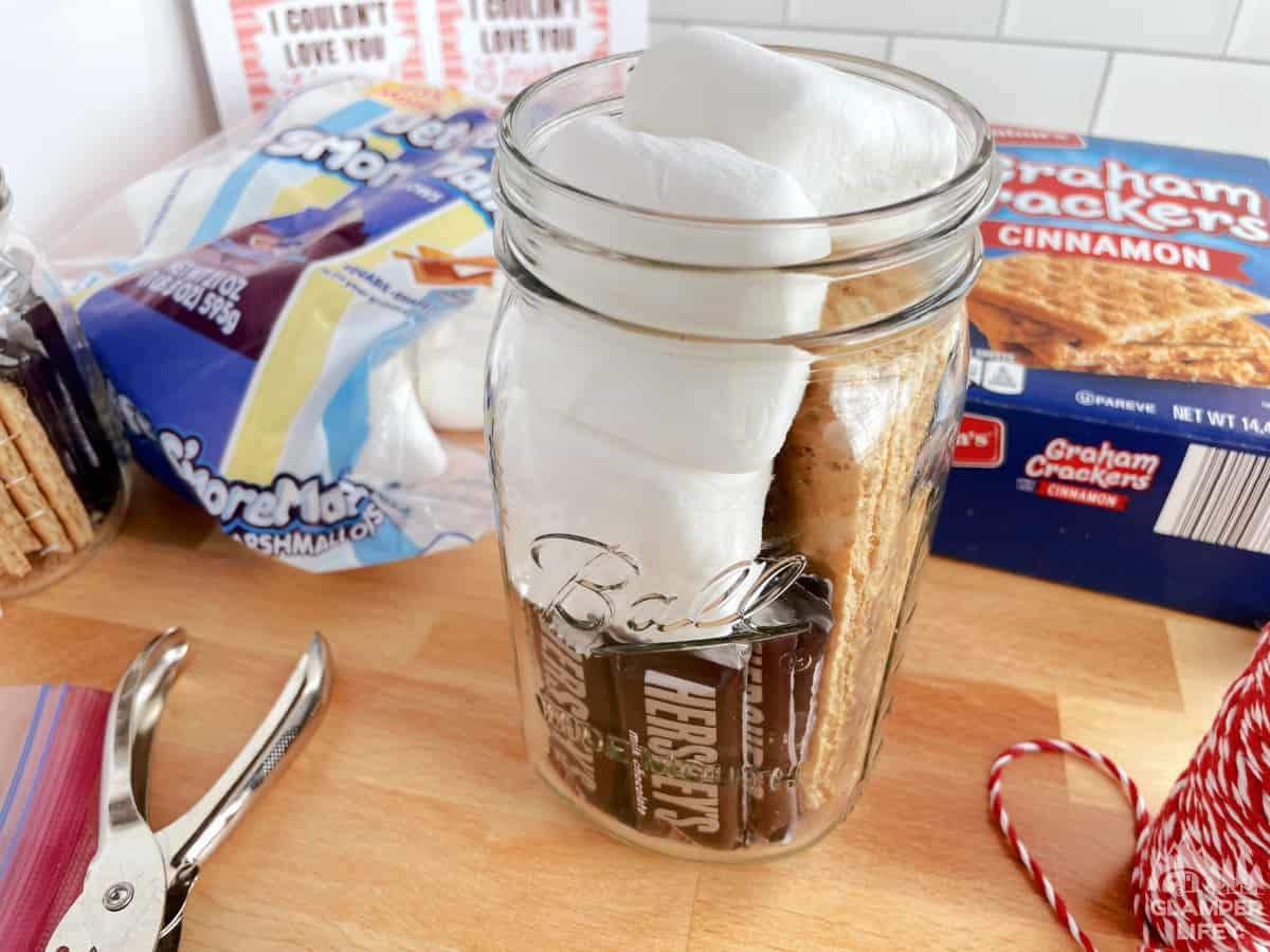 Filling Smores Jar
