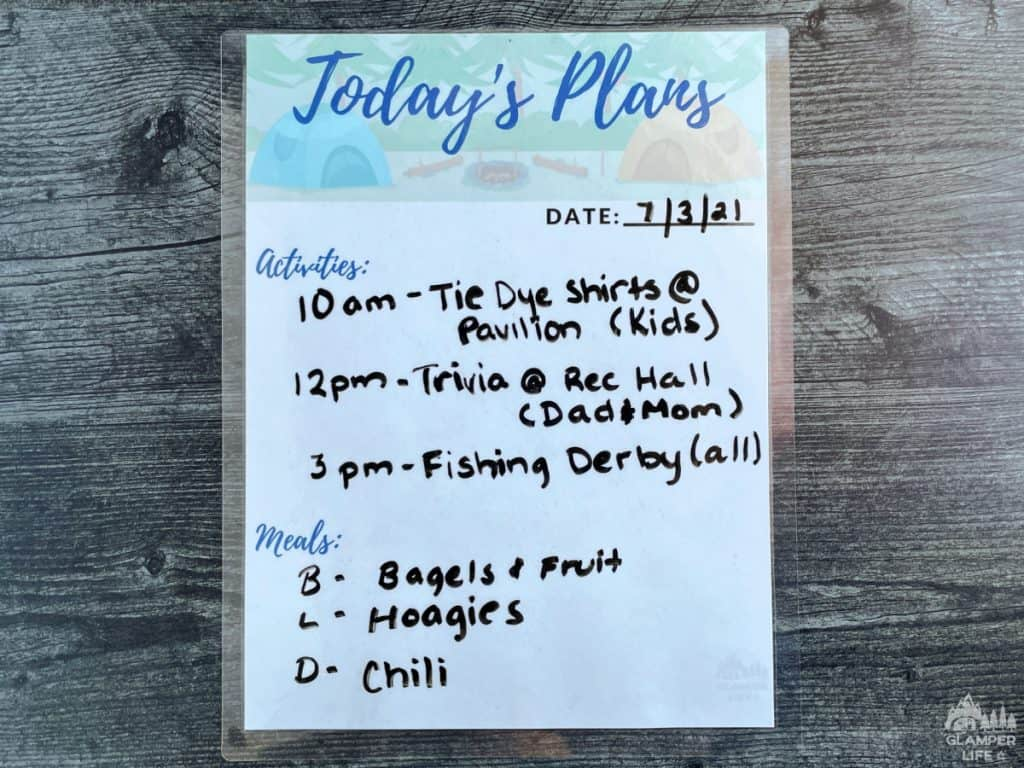 Campground Daily Planner