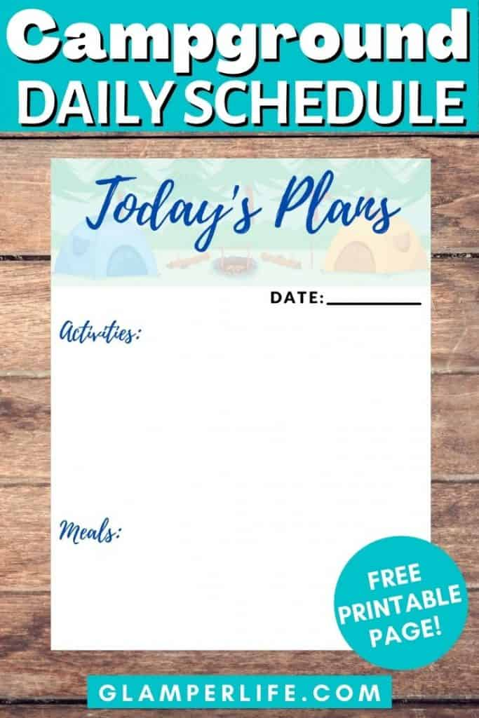 Campground Daily Schedule Printable PIN