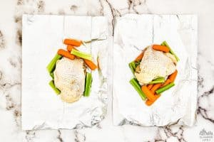 Chicken and Veggies on Foil Sheet