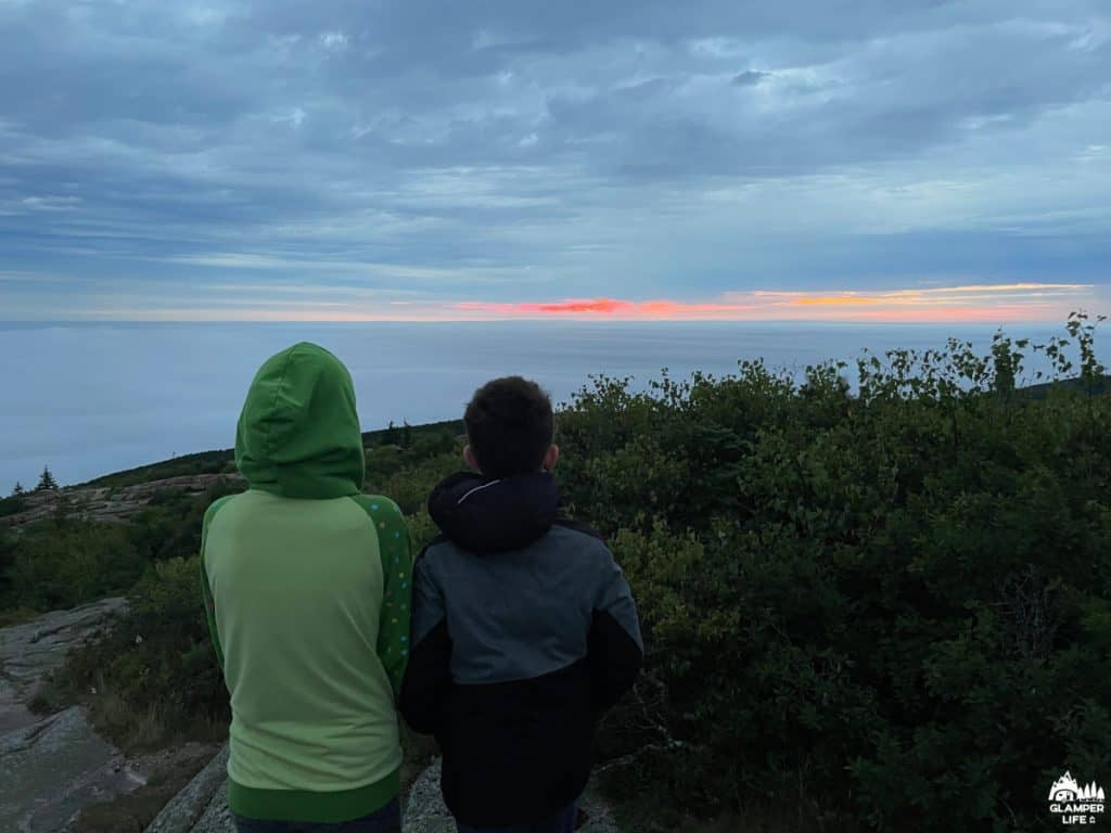 Kids Dressed Warm for Cadillac Mountain Sunrise